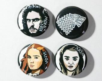 Stark Game of thrones set of 4 button pins Jon Snow, Aria Stark, Sansa Stark, winter in coming