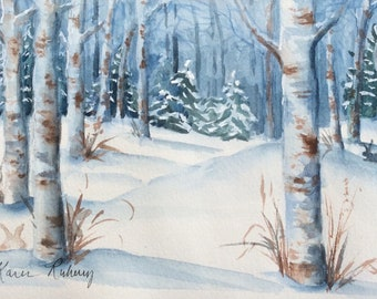 Birch Forest (Watercolor, matted and framed)