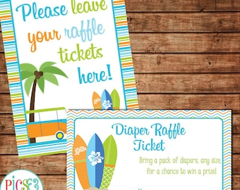 Surf Theme Diaper Raffle Tickets for Baby Boy Shower- Surfboards, Surfvan- Beach Theme Baby Shower, Baby on Board