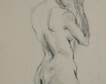 Nude back GICLEE ART PRINT 11 x 17 female portrait figurative art