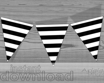 instant download - printable striped pennants - black and white - party banner - DIY party pennants