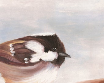 Coal Tit Print - Garden Bird Nature Reproduction from Original Oil Painting - 8x10 - Great Gift