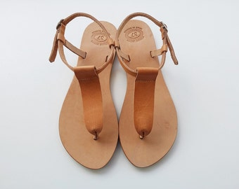 Women Sandals Light Brown Thong Leather Sandals Greek Handmade Leather Sandals  Leather Summer Flats