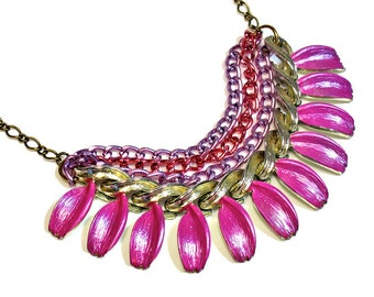 Colorful Fuchsia  Necklace Statement, Multi Chain, Upcycled Jewelry, Statement Necklaces, Prom Necklace, Hot Pink, SALE