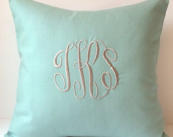 Monogrammed Pillow Cover made to fit a 18 x 18 Throw Pillow. Personalized Gift. Dorm Decor Bedding. Decorative Pillows. Housewarming Gift.