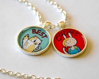 Adventure Time Fionna and Cake / Finn and Jake Friendship Necklace