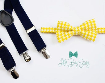 Navy Suspenders Yellow Boys Bow Tie, Boys Easter Outfit, Baby Boy Bow Tie Suspenders, Toddler Bow Tie, 1st Birthday Boy, Boys Navy Suspender