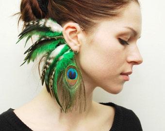 Feather Ear Cuff, Ear Cuff, Feather Earrings, Hippie, Hair Headpiece, Festivals, OOAK, Ear Jacket, Feather Ear Wrap, Ear Wrap