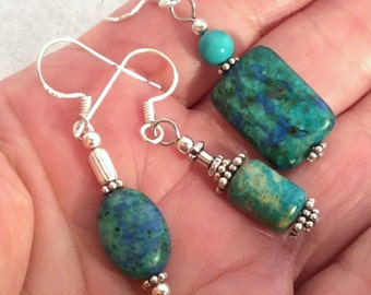 8 different Chrysocolla Earrings. Sterling Silver.  free US ship