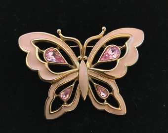 Trifari Signed Large Pink Enamel and Rhinestone Butterfly Brooch, c. 1970's