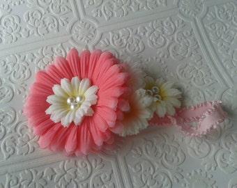 red and white flower baby headband,  baby flower headband,  summer baby headband,  baby pink headband,  baby headband , pink baby headband
