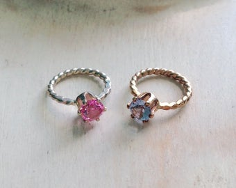 Mothers, Grandmothers Baby Ring Charm 4mm Birthstone Pendant Sterling Silver or Gold-Filled Add-on Charm - made to order