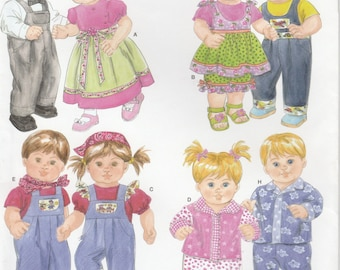 "Doll Clothes Pattern 15"" Doll Overalls Dress Pajamas Boy Girl Uncut Simplicity 4268"