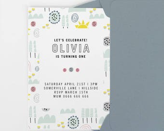 Girls first birthday invitation, birthday invitation, party invite, 1st birthday party invitation, 2nd 3rd birthday party