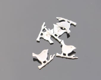 Matte Silver Birds on the Branch Connector, Pendant, 2 pc M911782