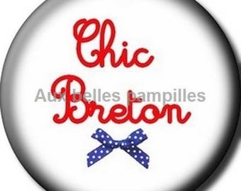 Round cabochon resin 25 mm - chic breton craft (1523) - text, Word, humor
