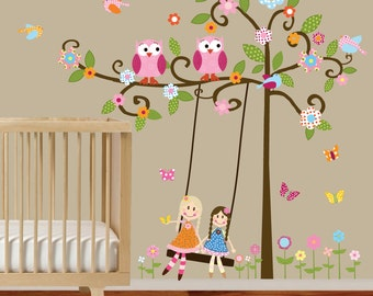Swirl Tree Vinyl Decal with swing, dolls,owls,birds and butterflies nursery vinyl wall decal