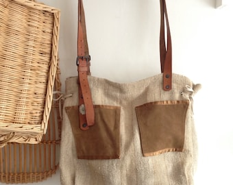 Upcycled LInen and Leather Handbag