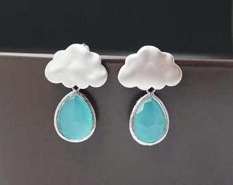 Rain Drops and Cloud Earrings - Matte silver finish Rain Cloud Ear posts and Sea Foam Mint Opal glass tear drops . For Her. Gift for Her