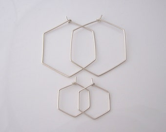 HEXAGON sterling silver, yellow or rose gold filled wire hoop earrings, modern, geometric earrings