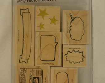 Stampin Up Rubber Stamps 1996 Photo Album New Set Of 7 + 1 Used Rubber Stamede Star Trio