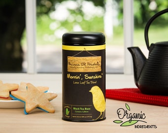 Organic tea, MORNIN' SUNSHINE, loose leaf tea blend, coffee lover breakfast blend, fair trade coffee, fair trade tea