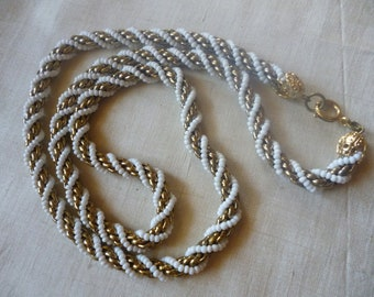 SALE Vintage Goldtone and White Twisted Rope 24 Inch Necklace