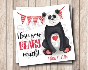 Personalized Printable I Love You Beary Much Tags, Printable Valentine Bear Tags, Panda Bear Valentine Tags, Bear Valentine Card
