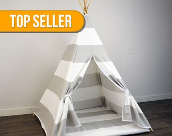 Kids Play Teepee and Play Mat in Light Gray and White Large Horizontal Stripe Canvas