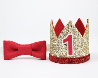First Birthday Outfit Boy Crown   Baby Boy Birthday Party Hat   First Birthday Glitter Crown   1st Birthday Hat   Gold + Red 1