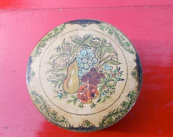 Very Old Set of FRUIT COASTERS and Container Cherry Apple Pear  Lime Grapes Peach Country Kitchen Cottage Chic