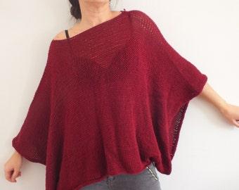Red sweater, women sweater,Wool sweater, Handknit, Poncho, Short Sweater, Bohemian style, Boho chic sweater