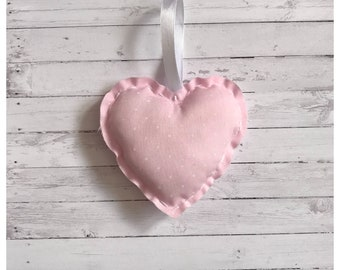 Pink and White Polka dot Handmade Hanging Heart