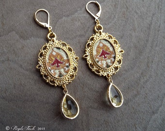 Couture Gold Embroidered Frame Dangle Earrings