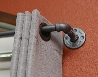 "Industrial Curtain Rod - Short Industrial chic pipe curtain rod 24""- 48"" long - Industrial pipe curtain rod - Pipe curtain rod - drapery rod"