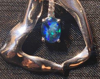 Sterling Silver(925) Natural Opal Triplet Necklace Set