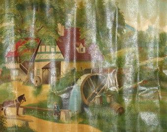 Antique european large oil painting landscape