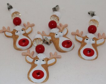 Rudolph Red Nose Reindeer Tablecloth Weights Set of 4