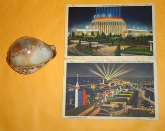 Vintage 1934 Chicago Worlds Fair Sea and Postcards, Chicago Worlds Fair Postcards, Worlds Fair Sea Shell, Chicago Worlds Fair