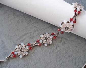 Beading Bracelet PDF Pattern - White Peach Bronze Flower Bracelet (BB145) - Beaded Jewelry PDF Tutorial (Instant Download)