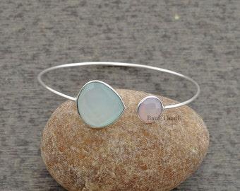 Aqua Chalcedony Bracelet, Bracelet, Gemstone Bracelet, Silver Bracelet, Sterling Silver Bangle, Silver Jewelry #1283