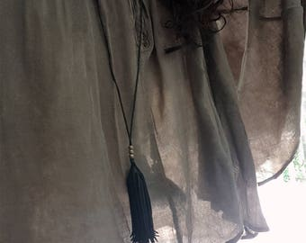 Imani/Kimani Leather Necklace & Earrings Set, Long Tassel Leather Necklace, Fringe Tassel Earrings Tassel Pendant, Tribal Boho Gypsy Jewelry