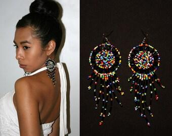 Galaxy Dream Catcher Earrings,  Native American Beaded Earrings, Huichol Earrings, Long Fringe Earrings, Seed Bead Earrings, Multicolor