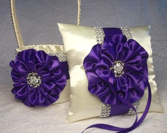 Flower Girl Basket & Ring Bearer Pillow, Ivory and Royal / Regal Purple Flower Girl Basket, Bling Flower Girl Basket, Ivory Ring Pillow