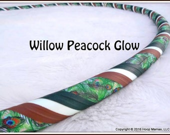 NEW - 'Willow Peacock Glow' - Glow in the Dark Custom Collapsible Hula Hoop Made Your Perfect Size!