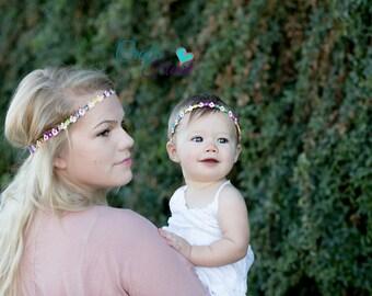 Mommy and Me Headbands - Boho Headbands - Bohemian Headband - Womens Headband - Hippie Headband - Matching Headbands - Flower Halo Headband