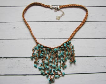 Turquoise and tawny cotton necklace