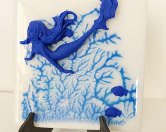 4 x 4 ceramic tile with acrylic hand painting mermaid and fish