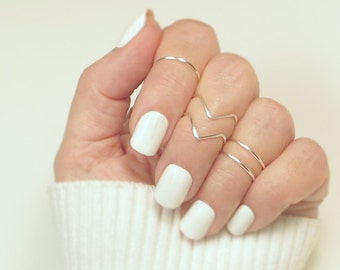 Midi Ring Set/ Knuckle Rings/ Set of 5, 2 Chevrons 3 Bands/ Stacking Rings/ Gifts for Her/ Dainty Gold or Silver