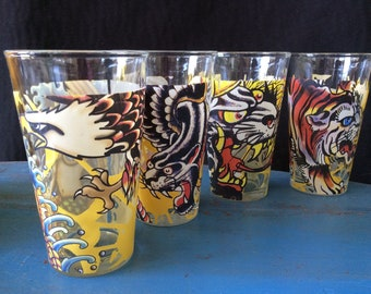 Ed Hardy drinking glasses colorful drinking glasses  collecting glasses
